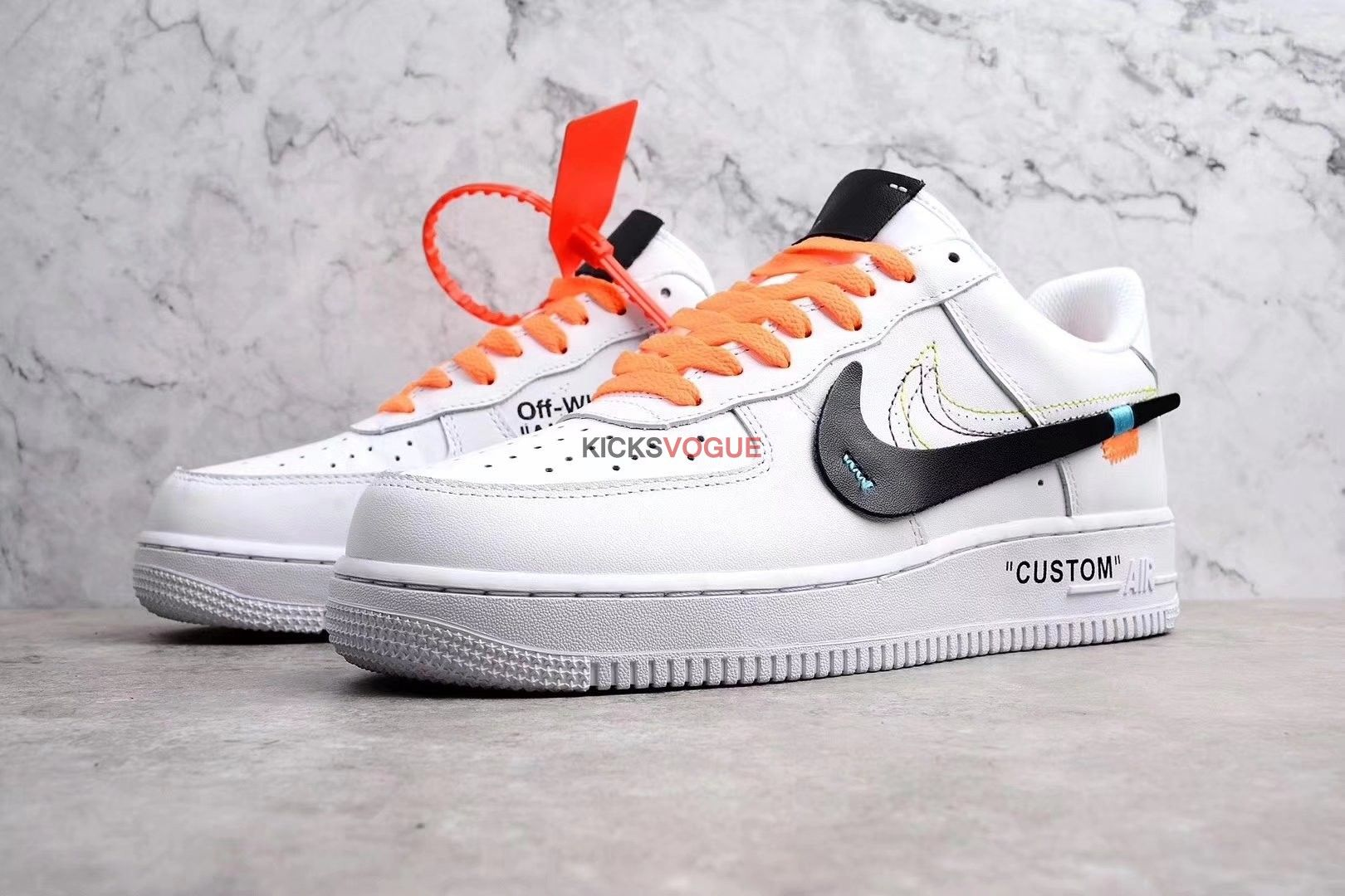39dcde6c69a4d Virgil Abloh OFF WHITE x Nike air force 1 Low White Custom ...