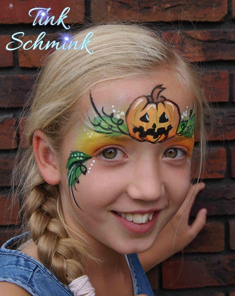 Cute Halloween pumpkin face paint by Tink Schmink Face