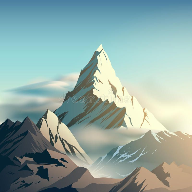 Mountain Illustration Mountain With Clouds Illustration In Vector Spon Illustration Mountain Mountain Illustration Cloud Illustration Mountain Drawing