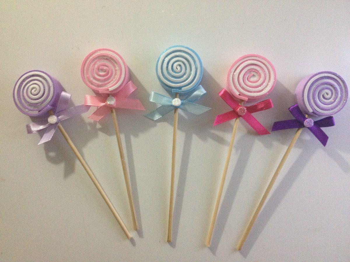 Paletas de caramelo foami recuerdos baby shower bautizo for Adornos navidenos mercadolibre