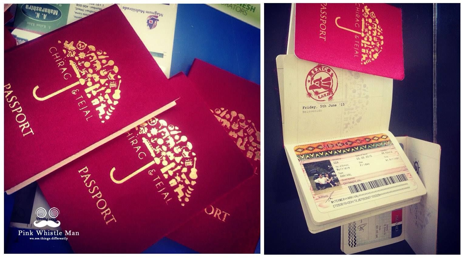 Red passport invitation card for a destination wedding #hearts ...