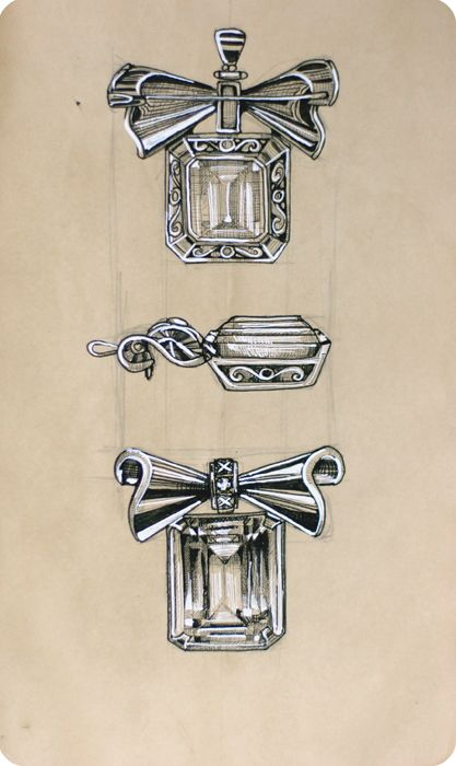 Jewelry Sketch by Elena Limkina. Brooch. Ink Drawing. | My ...