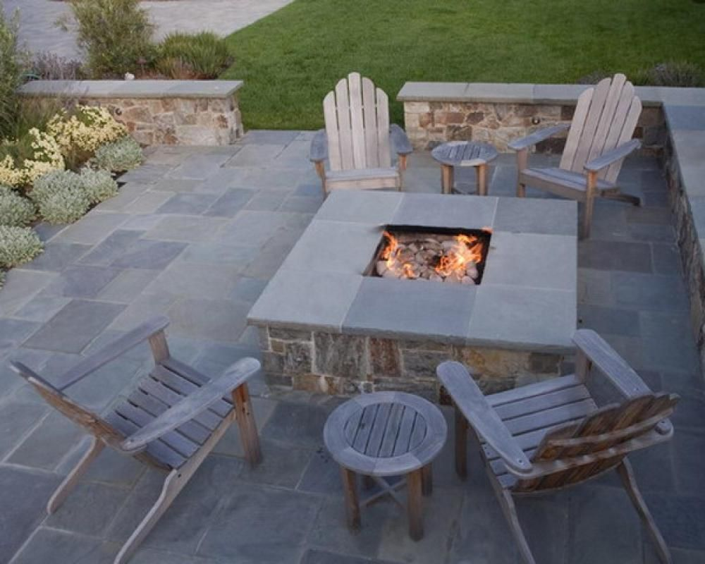 Outdoor fire pit designs browse contemporary square for Small stone patio ideas