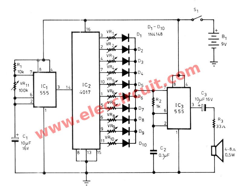 simple sound effect generator circuit using ic