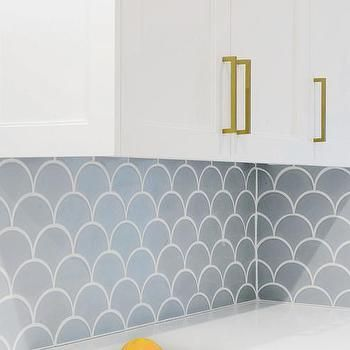 White Kitchen With Blue Fish Scale Backsplash Tiles Fish Scale Tile Fish Scale Tile Backsplash Tile Backsplash