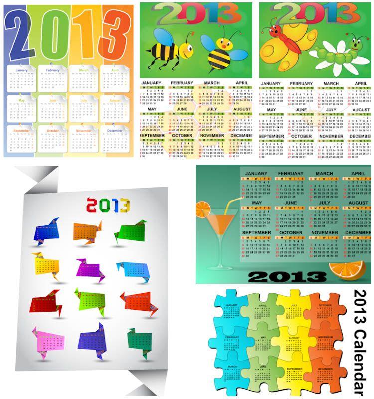 2013 Calendar Templates Vector Free Vector Graphic Resources