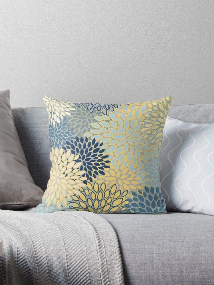 Coussin Imprime Floral Jaune Gris Bleu Turquoise Par Meggydesigns En 2020 Coussin Gris Et Jaune Coussin Gris Bleu Jaune