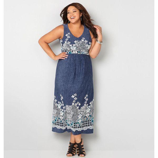 Avenue Plus Size Leafy Draped Denim Maxi Dress 62 Cad Liked On