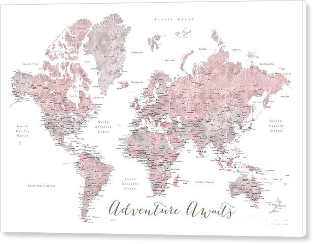 World map in dusty pink and grey adventure awaits canvas print world map canvas print featuring the digital art world map in dusty pink and grey gumiabroncs Image collections