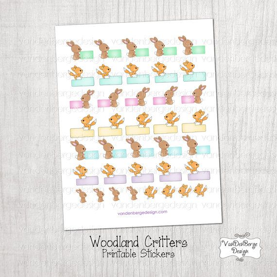 Printable planner calendar stickers woodland critters the stickers are approximately 1 x 1 25 simply print on a full sheet of sticker paper or print on