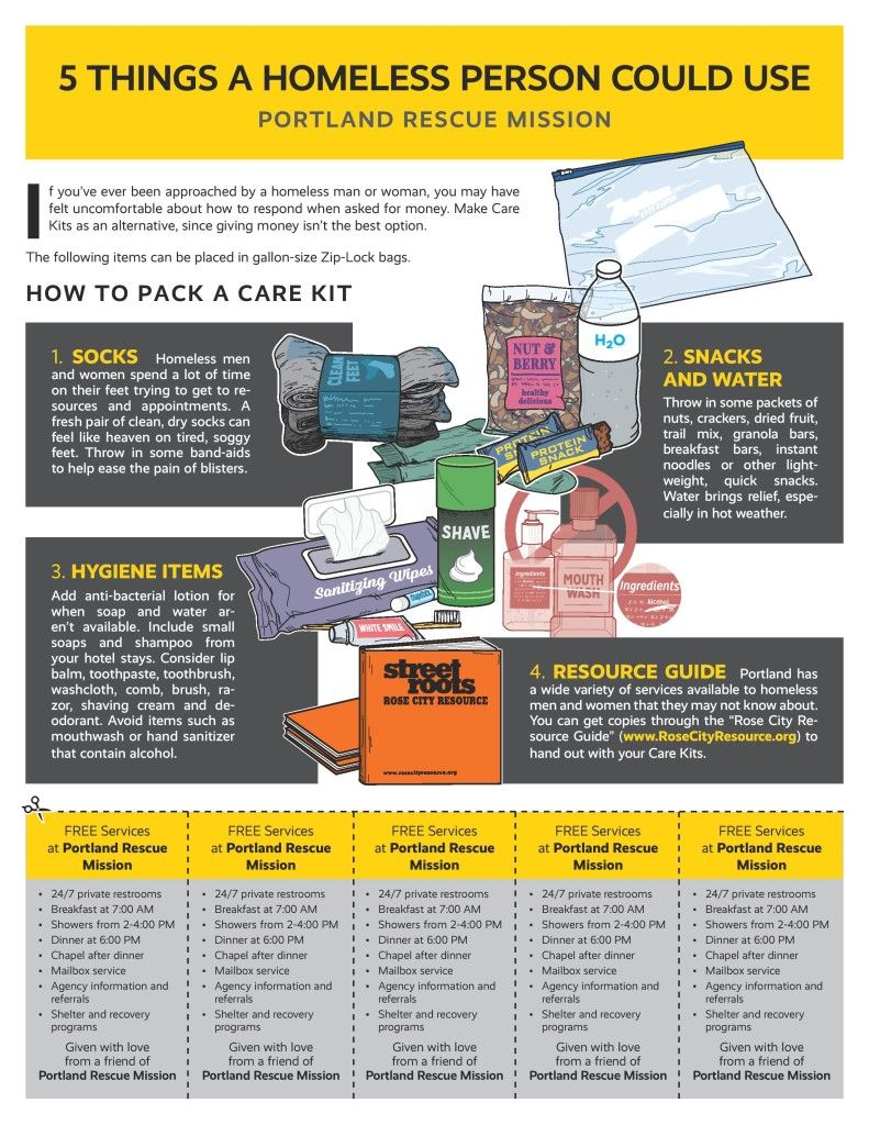 Pack A Care Kit Homeless care package, Homeless bags