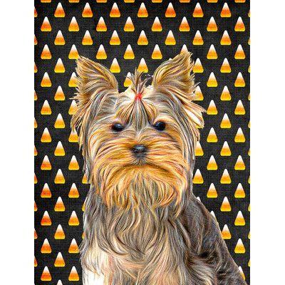 Carolineu0027s Treasures Candy Corn Halloween Yorkie/Yorkshire Terrier 2 Sided Garden  Flag