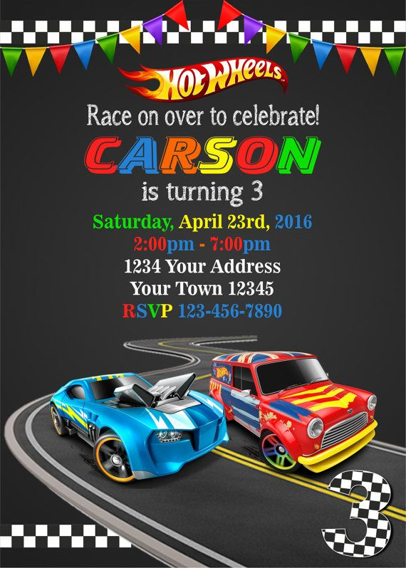 Hot Wheels invitation Cars Invitation Hot by DigitalSentiments - birthday invitation model