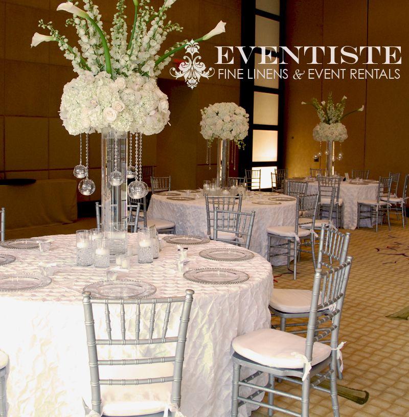 White Glam Wedding... Love those centerpieces