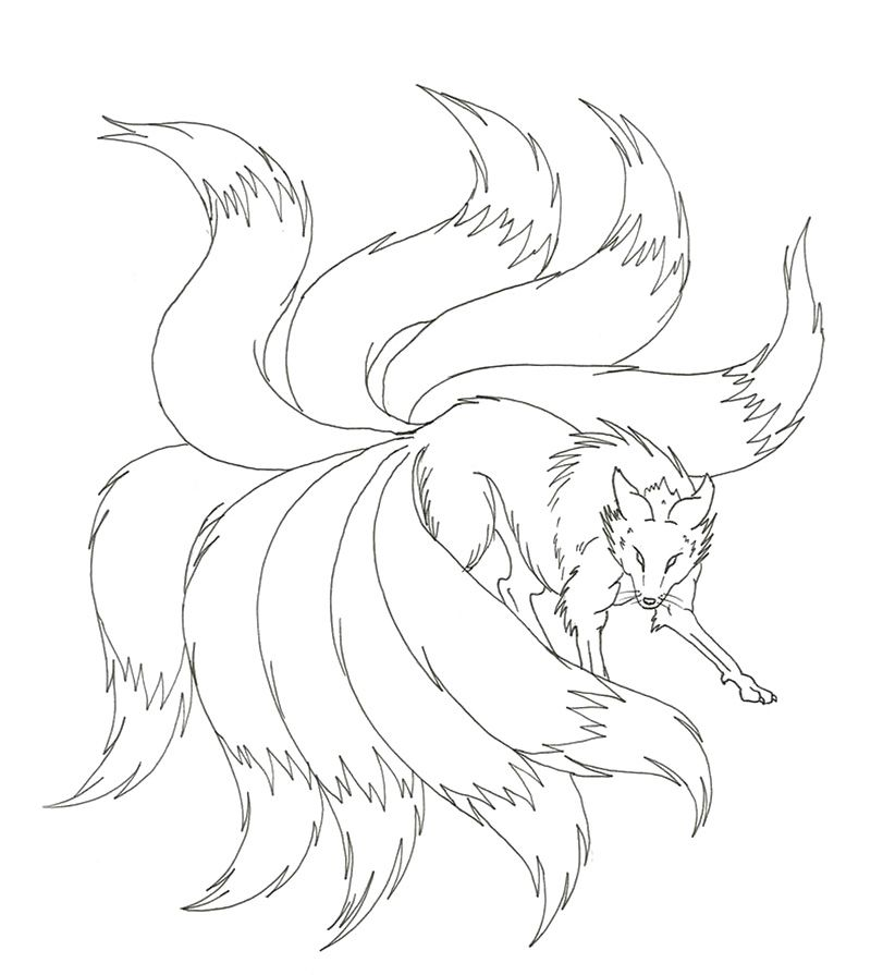 nine tailed fox drawings for kids - Google Search | kitsune ...
