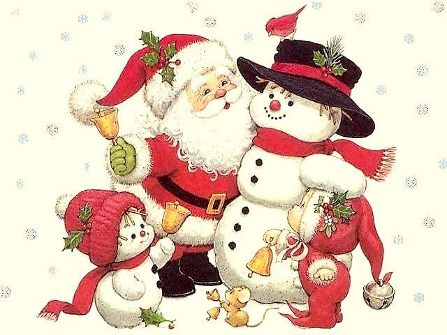 santa clause and snowmen christmas illustration by ruth morehead - Snowman Santa