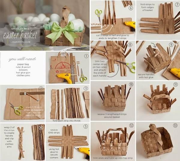 Torba koszyk wielkanocny sklep spoywczy papierowa wiklina paper grocery bag into easter basket negle Images