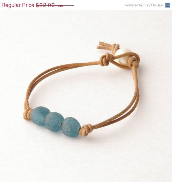 Sea Glass Leather Bracelet. Blue Natural Leather by SunlightSilver, $18.70