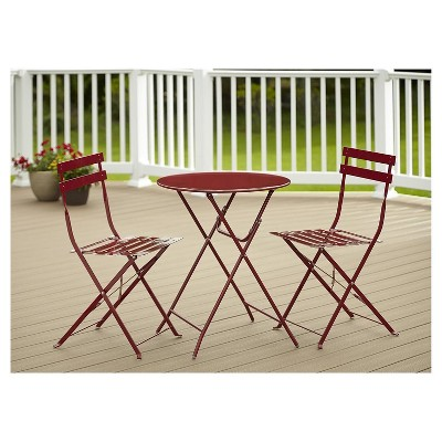 3pc Folding Bistro Style Patio Table And Chairs Red Cosco