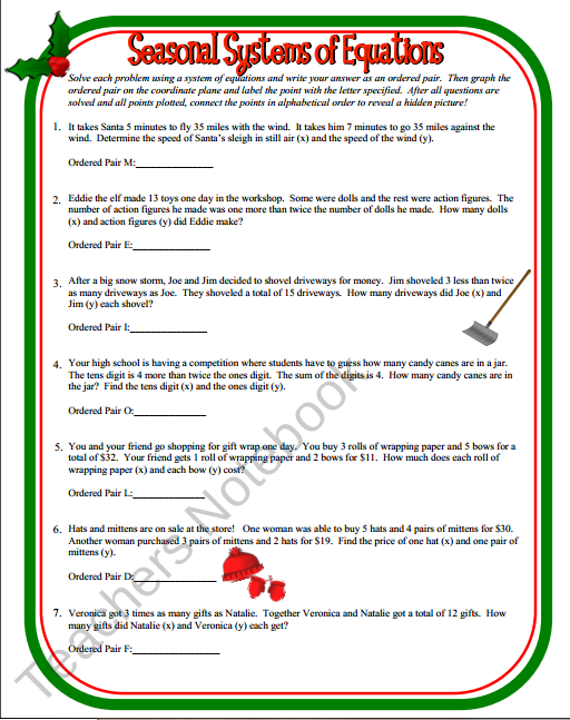 Teachers notebook seasonal systems of equations systems seasonal systems of equations ibookread PDF