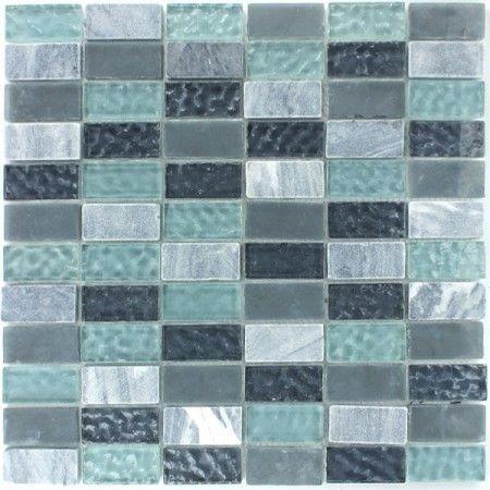 Marmor Glas Mosaik Fliesen 23x48x8mm Grau Turkis 1 Matte Home