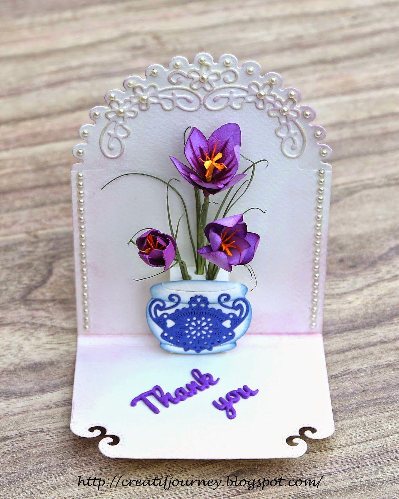 Creatif Journey Harbinger Of Spring Crocus Pop Up Card Cards Crocus Paper Crafts