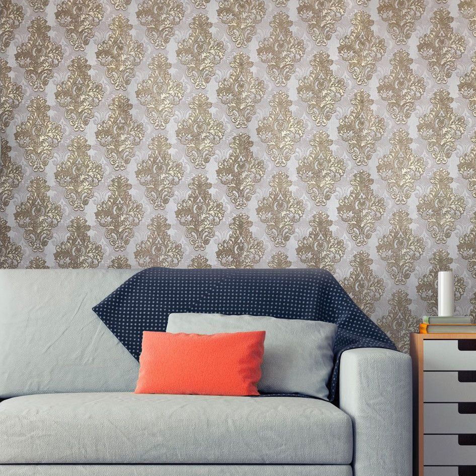 Vintage Paper Wallpaper Double Rolls Wall Coverings Damask Violet Gold Textured Wallpaper Ideas Of Gold Textured Wallpaper Paper Wallpaper Wall Coverings