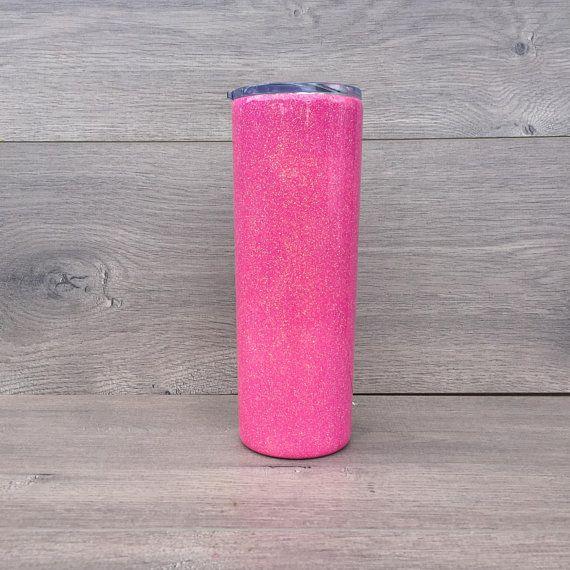 Ready to Ship! Pink Glitter HOGG 20 oz  Skinny Tumbler - Glitter