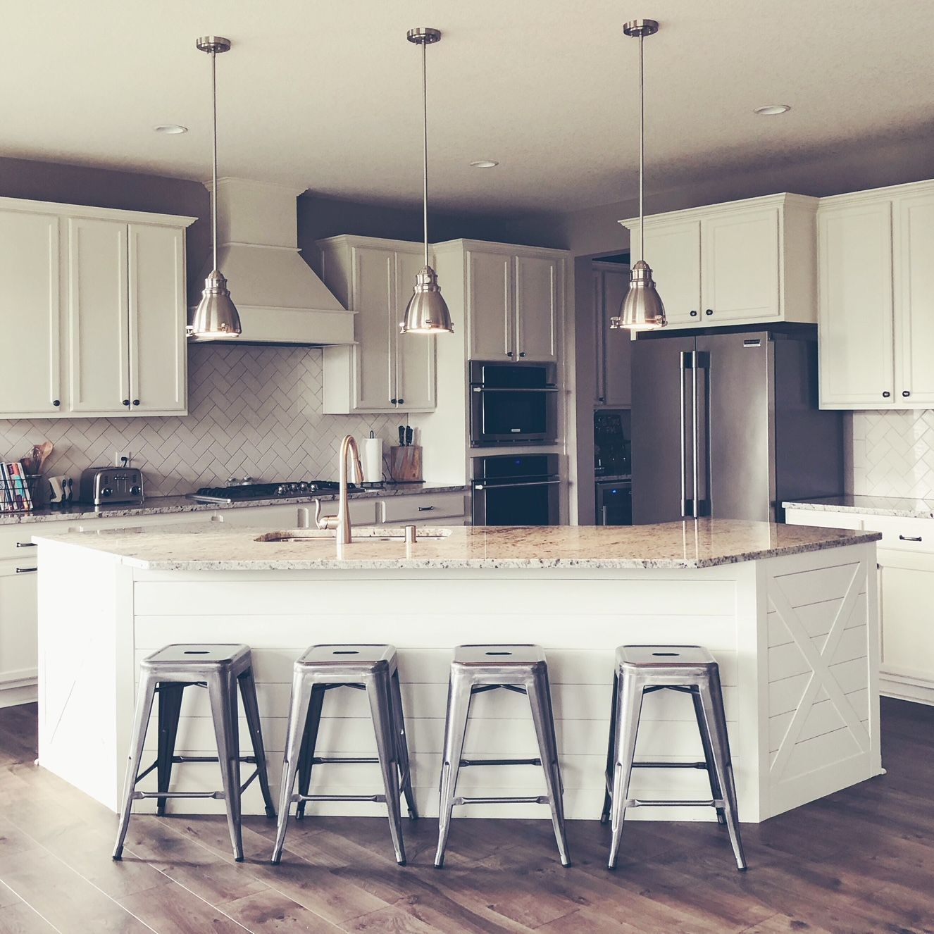 A Look At Our Corner Kitchen And Shiplap Island From Builder Grade To Farmhouse Fab Diy Kitchen Renovation Builder Grade Kitchen Kitchen Renovation