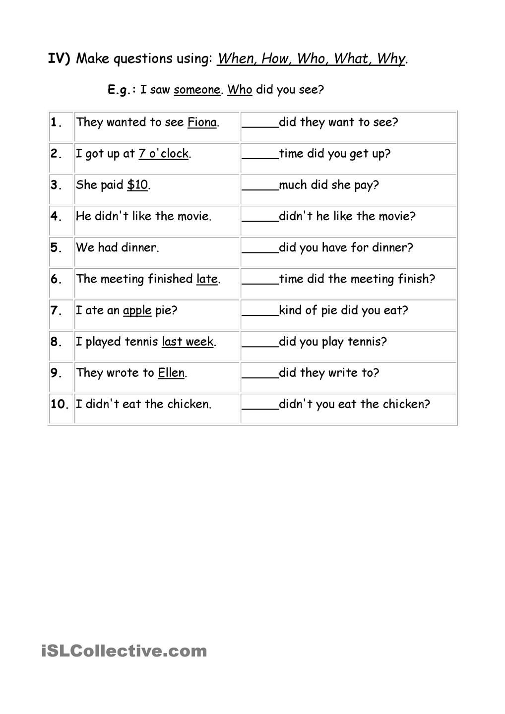 Exercises Wh question words | wh questions | Pinterest | Wh ...