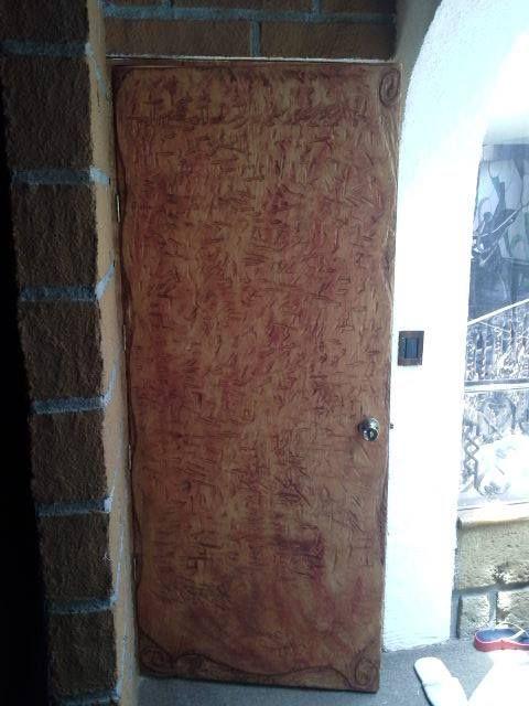 Remodelación Puerta madera Grabado pergamino
