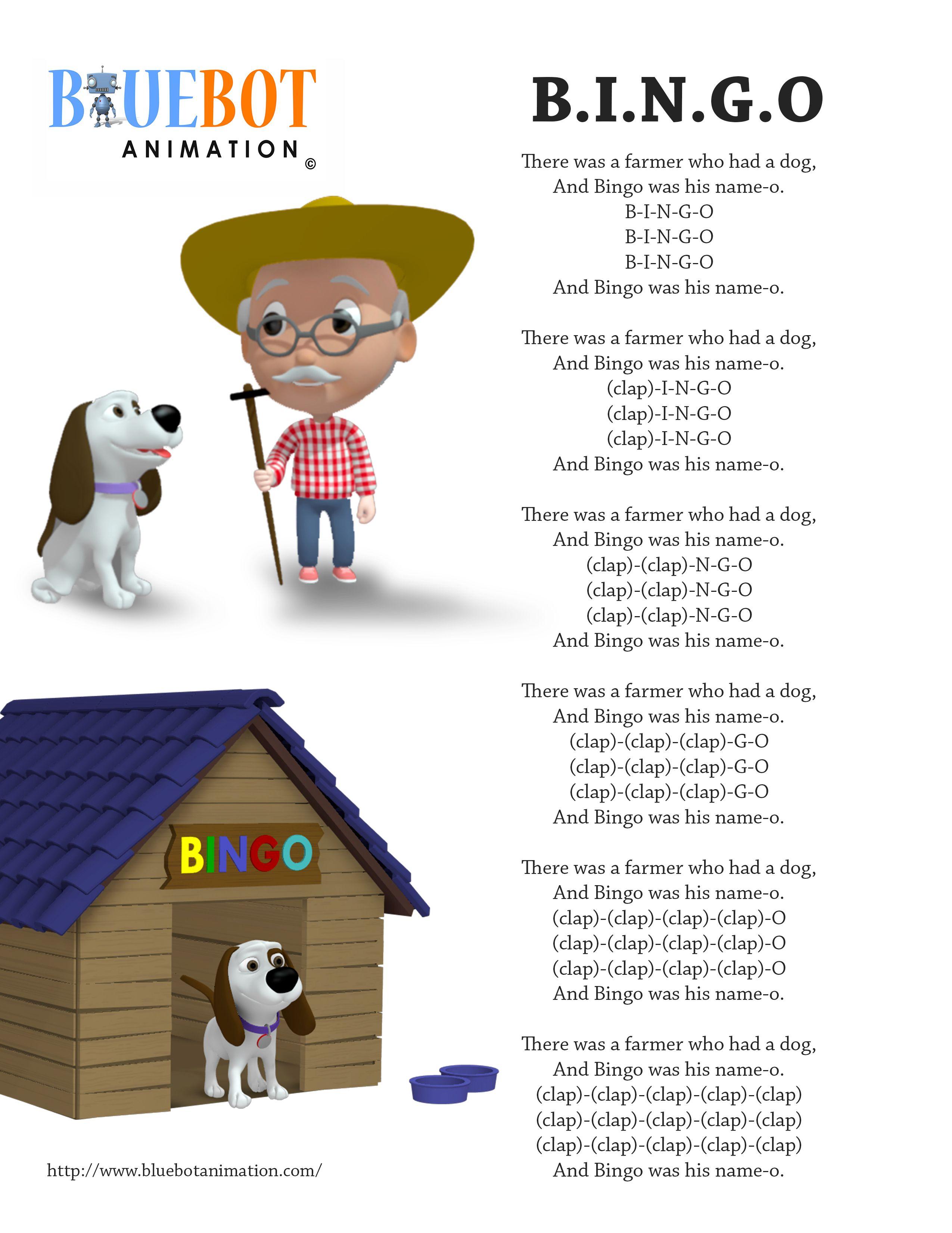 Free Printable Nursery Rhyme Lyrics Page BINGO By Bluebot