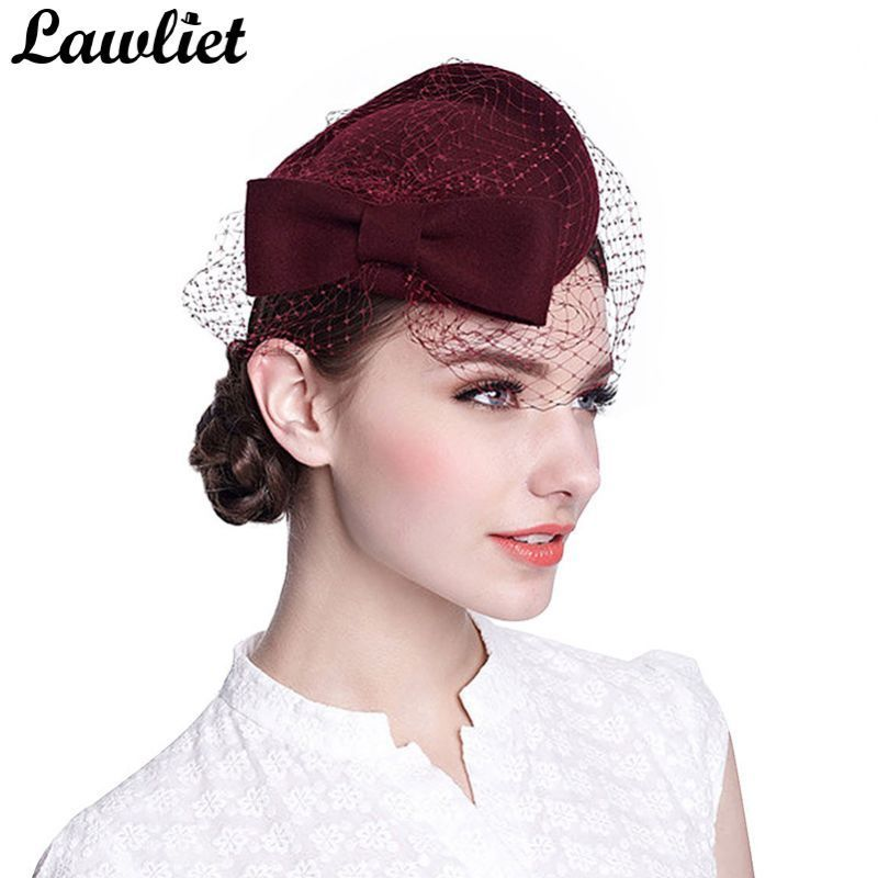 Cute bow womens veil netting 100% wool felt pillbox cocktail hats dress winter  hat royal ascot ladies hats for wedding event  headwear  100%  wool  with  ... 51d8115b49bc