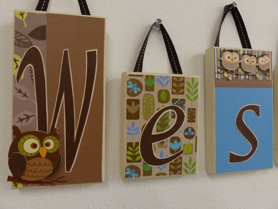 woodland theme name block letters home decor owls