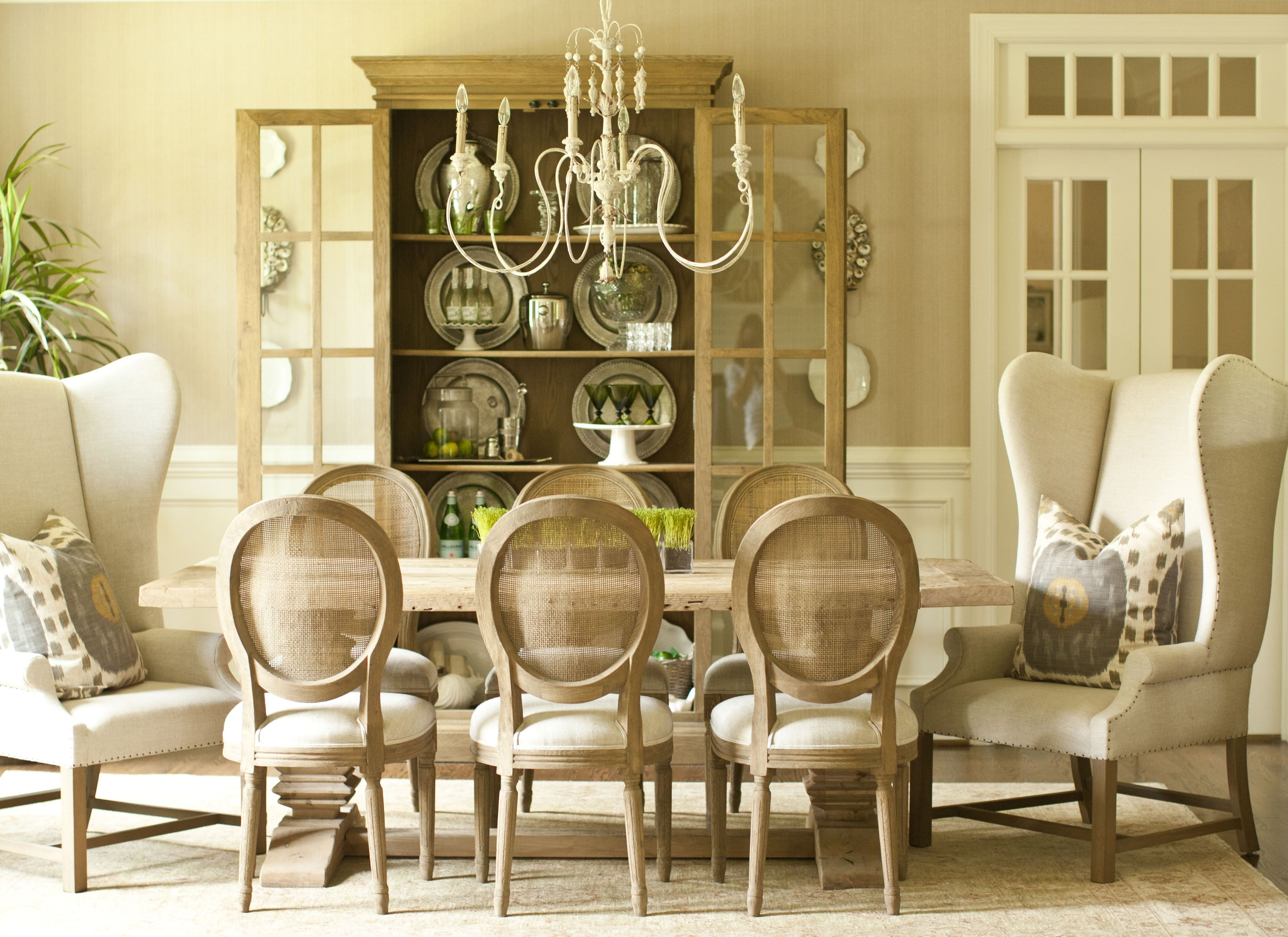 Stephanie shaw design 2013 greige dining room belgian for Oval back dining room chairs