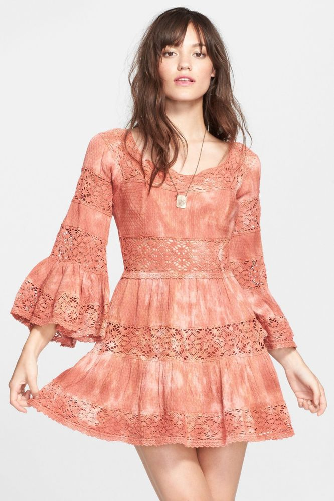 4ae5e98ff698 Free People Sunrise Orange Pippa Fit   Flare Bell Sleeve Dress  168 Boho  Medium  FreePeople  FitFlare  Casual