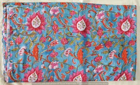 Indian 100% Cotton Running Loose Craft Sewing Dressmaking Floral Printed By Yard Fabric Throw Kid's