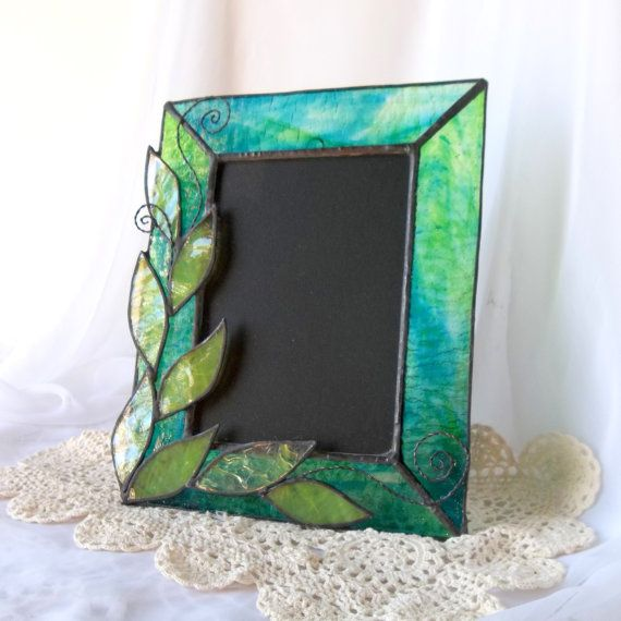 Stained Glass Picture Frame Green Leaf Photo Frame Fused Glass