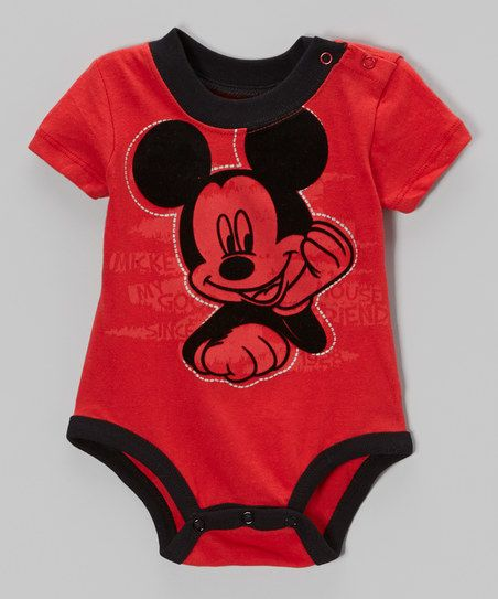 Childrens Apparel Network Red & Black Mickey Mouse Bodysuit - Infant | zulily