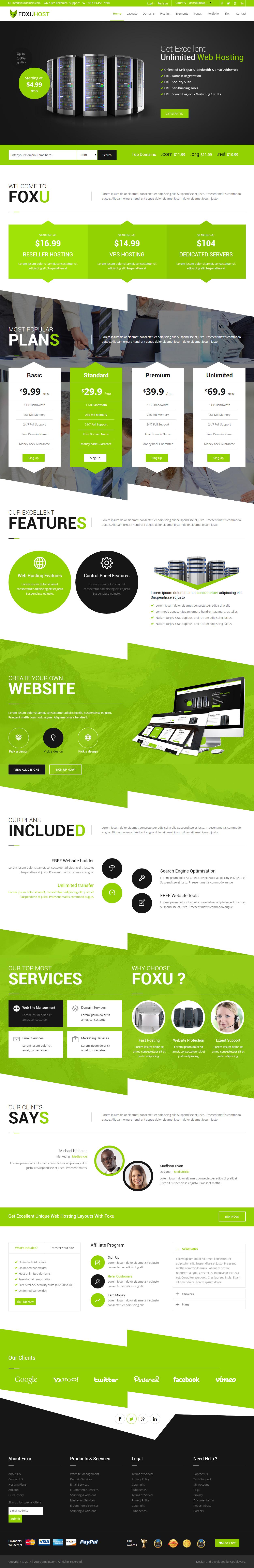 Foxuhost Premium Responsive Web Hosting HTML5 Template