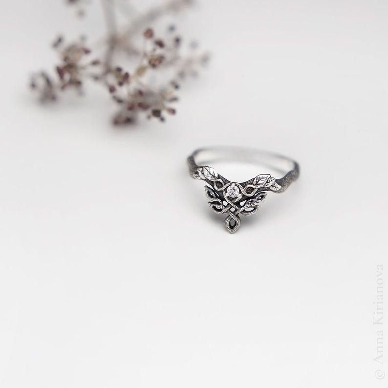 Woman Viking Ring Promise Ring for Her V Woodland Dragon Ring Unique Moissanite Engagement Ring Forever One Moissanite Ring
