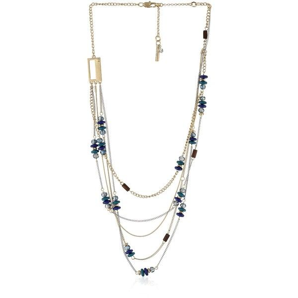 "Kenneth Cole New York ""City Surf"" Blue Mixed Bead Illusion Necklace ($46) ❤ liked on Polyvore featuring jewelry, necklaces, blue bead necklace, chain necklaces, multi color necklace, kenneth cole jewelry and bead chain necklace"