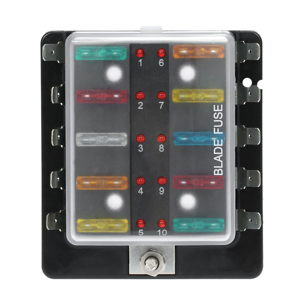 10 Way Blade Fuse Box Holder with LED Warning Light Kit for Car Boat Marine  Trike