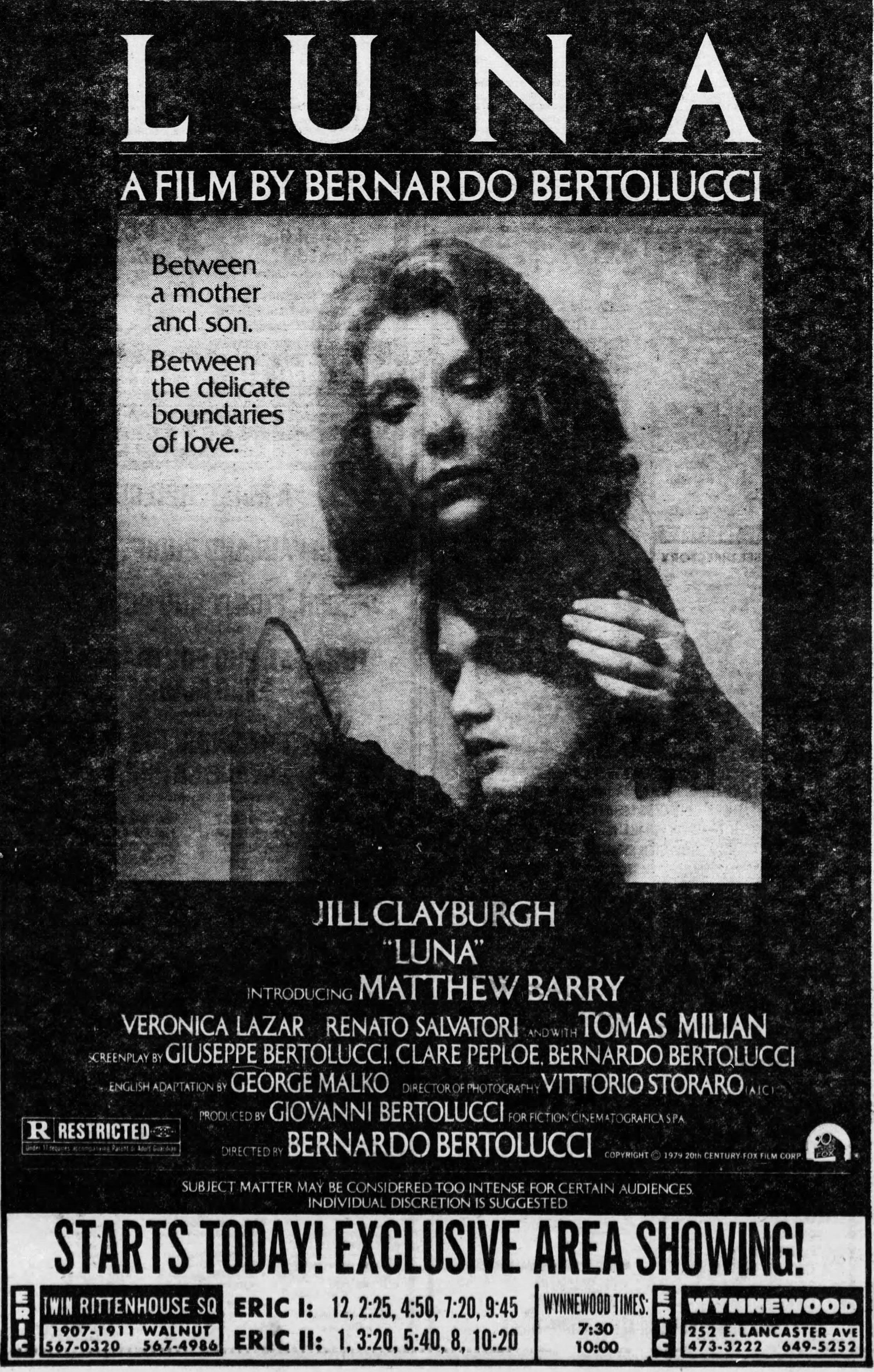 Luna 1979 Philadelphia Inquirer Jill Clayburgh Bernardo Bertolucci
