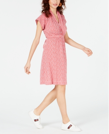 1a16b6be9a French Connection Elao Printed V-Neck Dress - Shanghai Red in 2019 ...