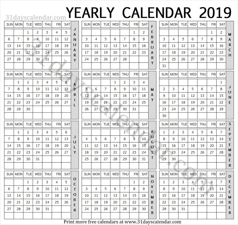 2019 English Calendar Yearly Calendar 2019 Calendar 2019