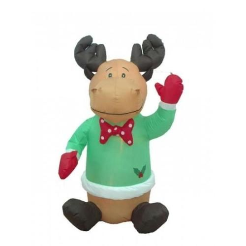 4\u0027 Airblown Inflatable Sitting Moose Lighted Christmas Yard Art - inflatable christmas yard decorations