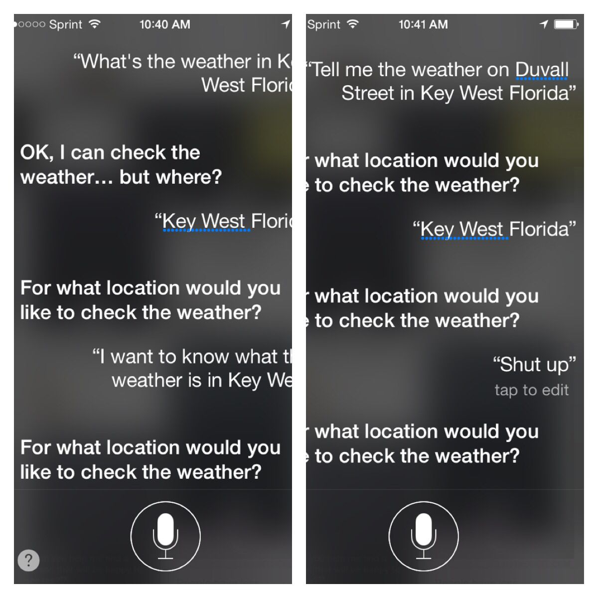 Siri doesn't want me to know the weather in Key West. apparently.   Key west florida. Key west. Duvall