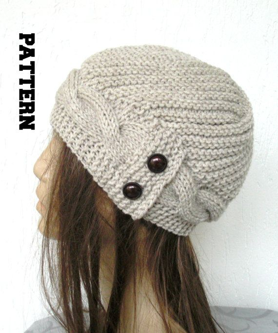 DIY winter knitting Pattern Knit hat Digital Knitting PATTERN PDF Women  Cable Knit hat Pattern 8a1ffd4c179
