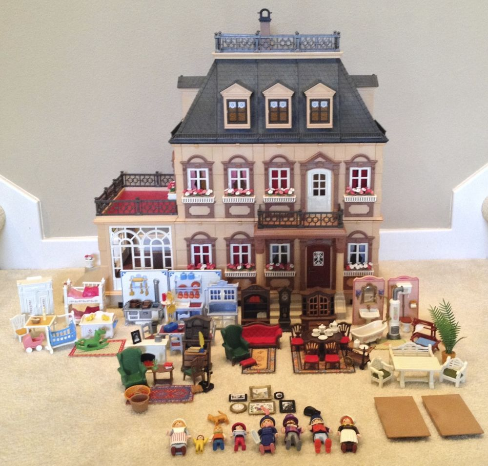 Playmobil 5300 Victorian Mansion Dollhouse Loaded With Furniture
